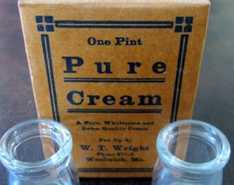Antique Vintage Wax Cardboard Milk Cream Carton and Two Glass Creamers