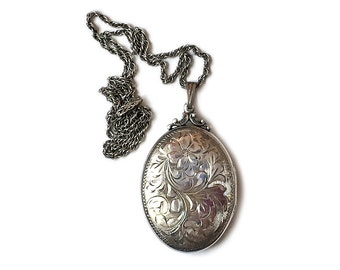 Large Sterling Locket Necklace Chased Flowers 1950s