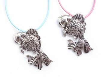 Japanese Nacklace Goldfish Necklace with genuine leather cord / Custom Length Chain bue white / Dull silver, Antique silver Kingyo fish
