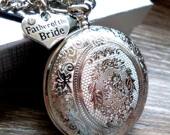 Father of The Bride Personalized Silver Pocket Watch with Watch Chain  Bride's Father Gift Bride's Dad Gift Ships to US/Canada SLEQ