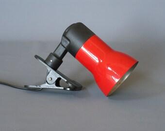 RED TABLE LAMP, Clamp Lamp by Decolux, 1970s Swiss Spot Lamp, Vintage European Desk Light, Retro Modern Desk Lamp, Made Switzerland