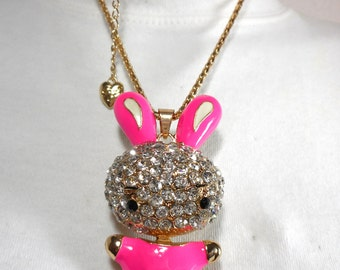 Swarovski Crystal & Pink Enamel Betsey Johnson Bunny Pendant Necklace, Excellent Condition