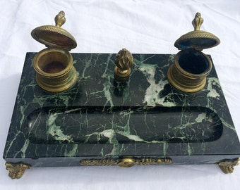 Gorgeous French Empire Marble Desk Set