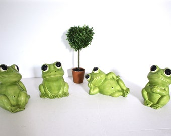 Set of Vintage Frog Ceramic Figurines - Statues - Garden Decor