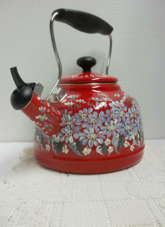Chantal tea kettle red enamel two quart hand by folkartbynancy - Chantal teapots ...