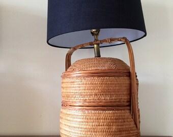 Vintage Rattan Lamp - Mid Century Boho Lamp