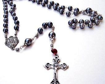 Rosary: Handmade Pearlized Grey Beads