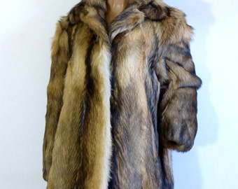 Brown fox fur BETTY BARCLAY jacket size M - 40s glamour revival - French 70s vintage
