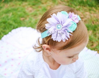 Baby headbands, baby girl headbands, lavender and aqua flower headband, infant headbands, lavender headbands, newborn headbands, headbands