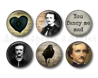 Edgar Allan Poe - Literary Magnets - 6 Magnets - 1.5 Inch Magnets - Kitchen Magnets