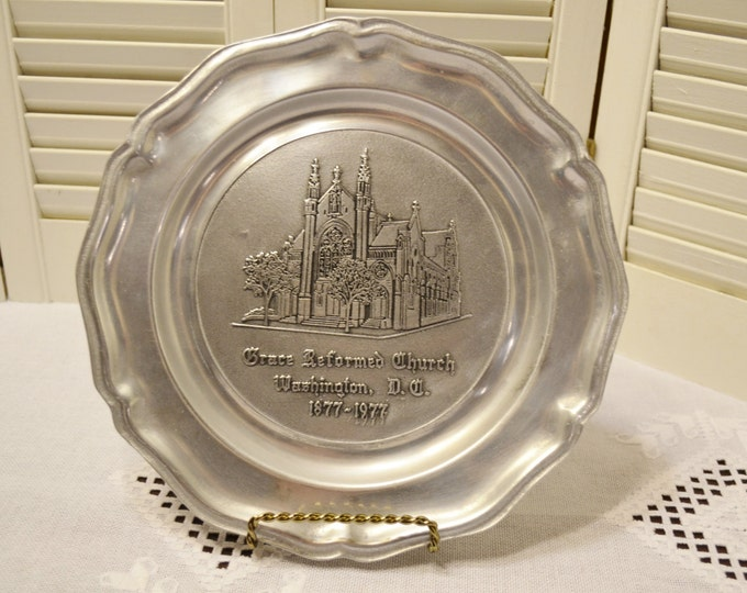 Vintage Wilton Pewter Plate Grace Reformed Church Washington DC RWP PanchosPorch