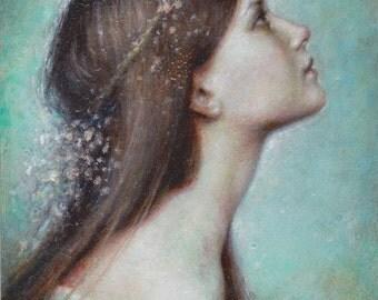 """A Full Heart - Hand Embellished 8x10"""" Velvet Giclee Fine Art Print"""