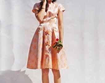 Vintage Wedding Dress, 1950s Wedding Dress, Boho Wedding Dress, Peach Wedding Dress, Short Wedding Dress, Full Skirt Dress, Prom Dress, 50s