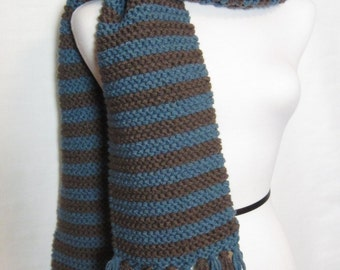 Brown and Blue Striped Scarf. Hand Knit Fringed Scarf. Ships Free in the USA