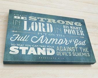Custom Bible Verse Wall Art, Your Bible Verse on Canvas, Christian Gift, Ephesians 6 10-11