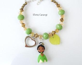Tiana the princess and the frog bracelet, disney princess, fanart, handmade, bronze, polymer clay