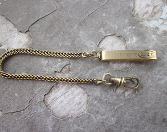 """Antique Watch Chain, Watch Fob, A&Z, Marked 1-10.  """"Acid Dept. 5 Yrs."""" 1927"""