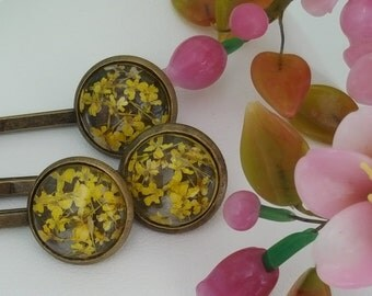 Yellow Flower Bobby Pins, Genuine Dried Flowers, Set of 3, Flower Hair Pins, Yellow Wedding Accessories, Yellow Floral Bridesmaid, H4007