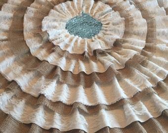 Elegant Burlap And Lace Ruffled Tree Skirt, Rustic Burlap, Shabby Chic Tree Skirt