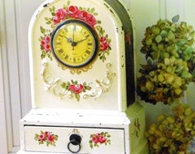 Shabby Cottage Chic FREE SHIPPING Mantel Clock Hand Painted Rose Victorian Decor