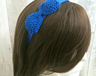 Retro Headband, Dolly Bow Headband, Blue Headband Women Gift Ideas, Alice Band, Prom Headband, Womens Headband, Bow Headband Women