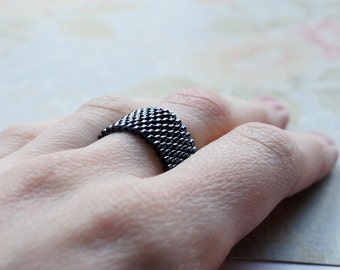 Seed Bead Ring, Peyote Ring, Beaded Ring, Woven Ring, Delica Ring, Bead Band Ring, Gunmetal Ring, Seed Bead Jewelry, Flexible Ring