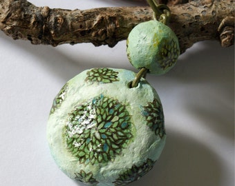 Pendant Green Bushes with leather cord  | Handmade paper mache beads