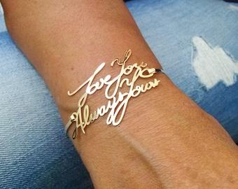 14k Signature bracelet,Handwriting Bracelet,Bracelet Handwriting,Personalized Signature Bracelet,Custom handwriting bracelet,Made in USA