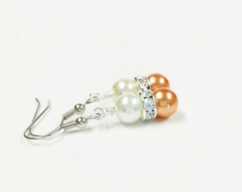 Orange and Ivory Pearl Earrings, Bridesmaid Earrings