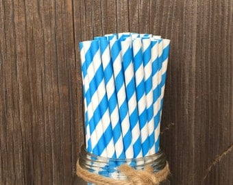 75 True Blue Striped Straws, Paper Striped Straws, Birthday Party, Baby Shower, Picnic, 4th of July