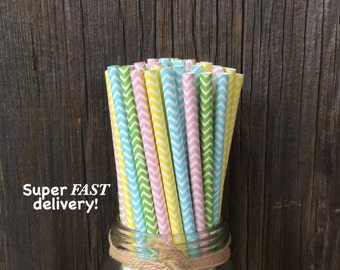 100 Pastel Chevron Straws, Pastel Straws, Spring Party, Baby Shower, Free Shipping!