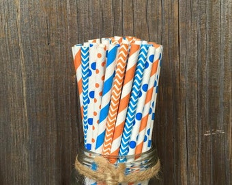 150 Orange, Blue and White Polka Dot, Stripe and  Chevron Straws, Birthday Party, Baby Shower, Team Party, Picnic Supply, Free Shipping!