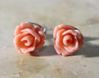 Mini rose flower earrings pink resin stainless steel