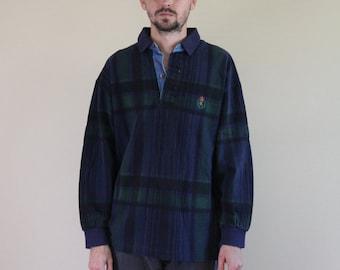 90s Plaid Long Sleeve Crest Polo Shirt Mens Small