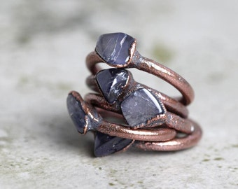 Iolite Ring Electroformed Copper Ring Blue Crystal Violet Gemstone Rustic Gemstone Delicate Ring