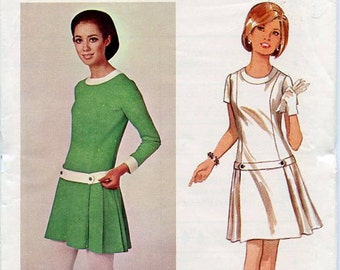1960s Mary Quant Mod Mini Dress Pattern / Low Drop Waist, Pleated Skirt / Young Designer / Vintage Sewing Pattern / Butterick 4578 Bust 32
