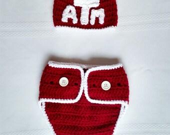 ATM Aggies Beanie & Diaper Cover Set - 3-6 months