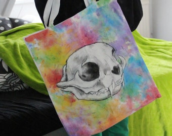 Cat skull rainbow totebag  handpainted one of a kind