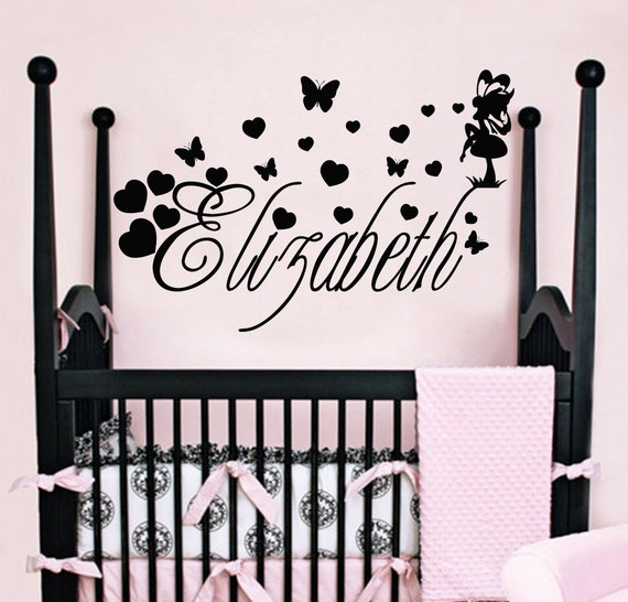 Girl Name Wall Decals Fairy Tail Decal Butterfly by DecalHouse