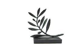 Olive branch bronze Greek sculpture , Verdigris patina scalpture