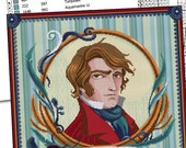 COUNTED STITCH pattern - Hug your Darcy - Jane Austen- Pride and Prejudice -PDF - Suitable for cross stitch and needlepoint