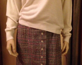 Nice Polyester/Cotton Tweed Black and Burgandy Plaid Button Down Long Skirt