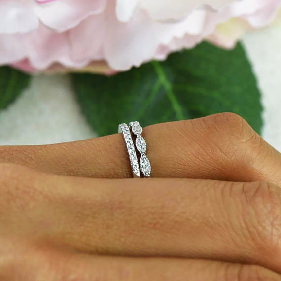 Beautiful Diamond Bands: Art Deco Wedding Band And Half Eternity Band Thin Stacking