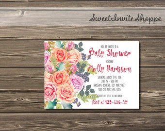 Watercolor Roses Baby Shower Invitation, Floral Girls Baby Shower Invitation,  Pink and Purple Floral Baby Girl Shower Invite, Bridal Shower