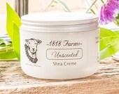 Unscented Shea Creme - All Natural - 1818 Farms - 8 fl oz jar - Scent Free