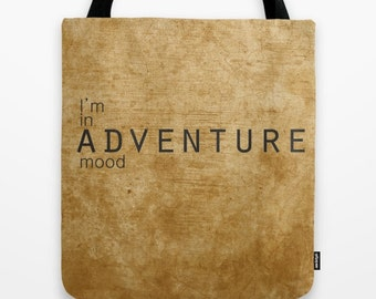 Adventure bag safari bag quote bag inspirational bag motivational bag canvas shopping bag for everyday work book bag orange brown