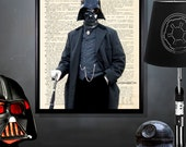 "Upcycled Dictionary Page Print: - ""Gentleman Vader""  - 8"" x 10"", Star Wars Fan art, Darth Vader print, Star Wars Decor, Vintage Star Wars"