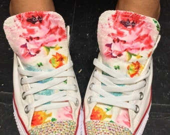 Rhinestone Floral Converse Shoes
