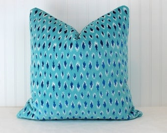 Both Sides - ONE Dimat Turquoise Velvet Pillow Cover with Knife Edge
