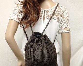 Knit Backpack, brown knit,back pack,Free shipping in the US